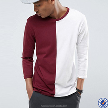 bulk custom t shirt for men long sleeve longline t shirt with contrast splice in red and white