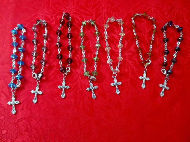 bethlhem hand made Crystal glass beads Rosary Bracelet made using sterling silver plated wire and metal crucifix