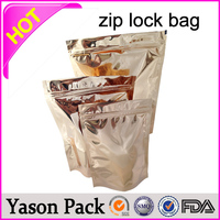 YASON self seal gold ziplock aluminum foil eco friendly bags plastic ziplock pill bags plastic envelope with ziplock