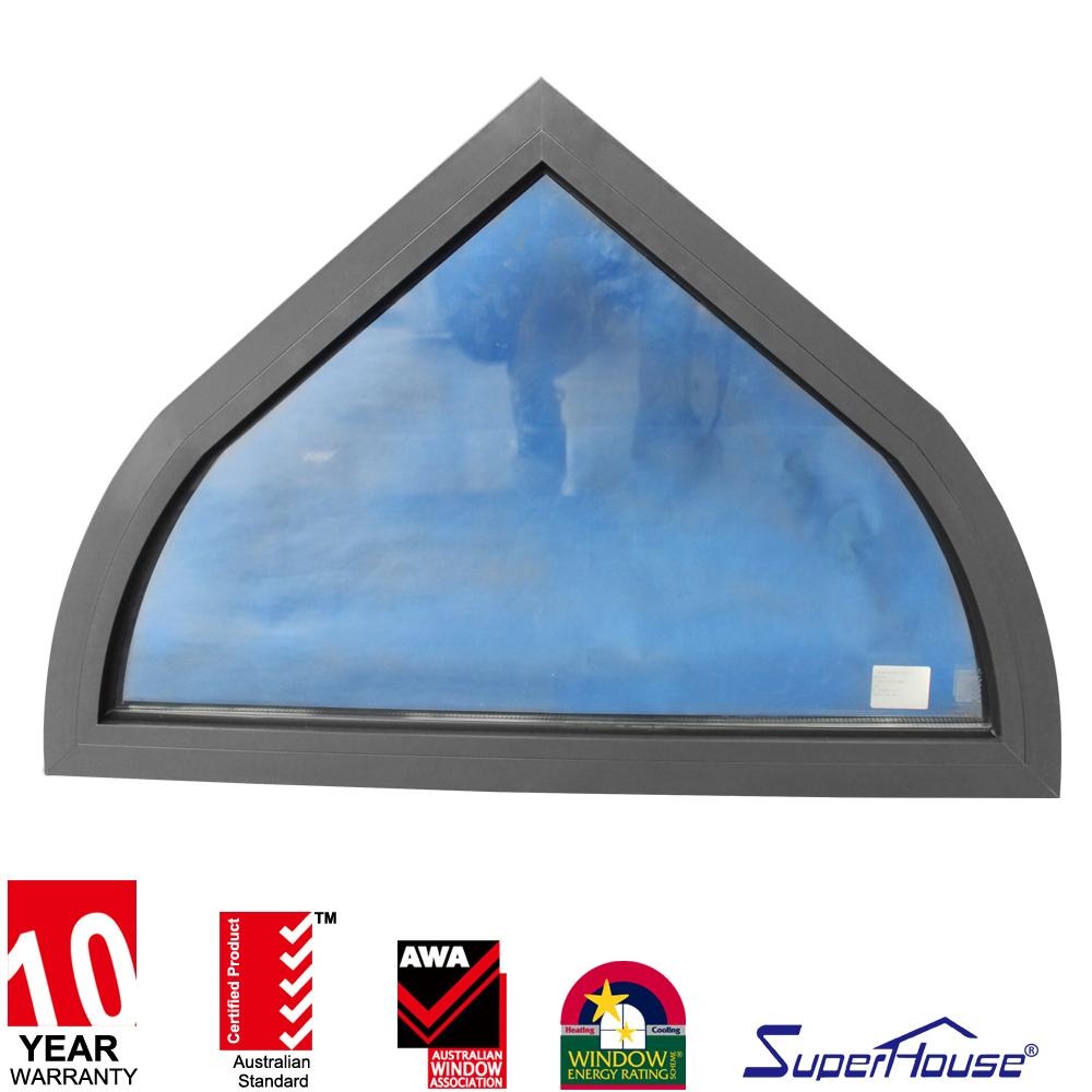 Superhouse double glazing glass arch shaped fix windows hot sale