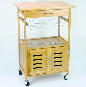 Bamboo wood kitchen serving trolley cart
