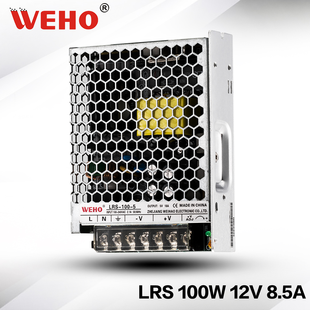WEHO slim power new design LRS-100-12 110v/220v input ac to dc 100w 8.5a led power supply 12v