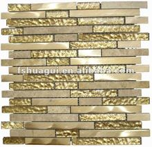 HG-CDT043 Strip golden grain aluminium mosaic mix foil glass and polish marble tiles
