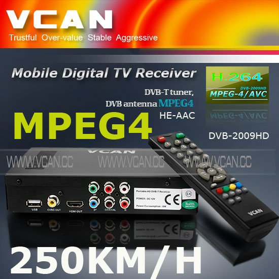 Dvb-t wifi android DVB-T2009HD-465 portable HD Car digital DVB-T Receiver with 250KM/Hour