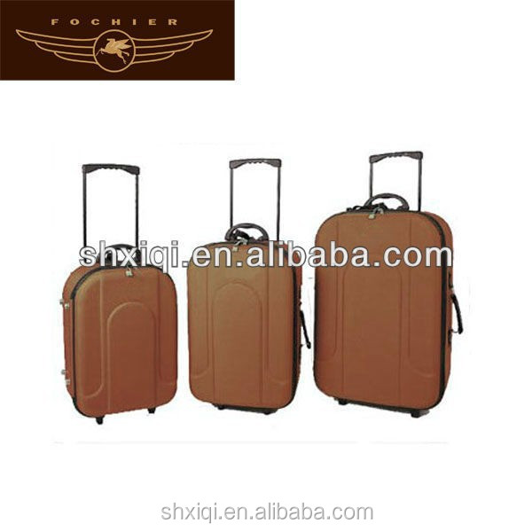3pcs polyester trolley eva travel luggage sets