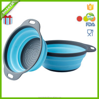 Colander Set - 2 Collapsible Colanders (Strainers) Set FDA Apporoved 2 size Collapsible Plastic Colander/Strainer