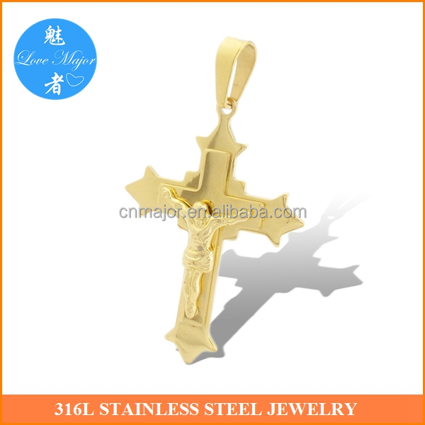 2016 New Gold Plated Big Jesus Crucifix Cross Stainless Steel Pendant Fashion Jewelry