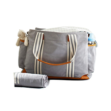 1DP0001 Wholesale Fashion Cotton Canvas Diaper Bag Leather Travel Mother Baby Diaper Bag with Changing Pad