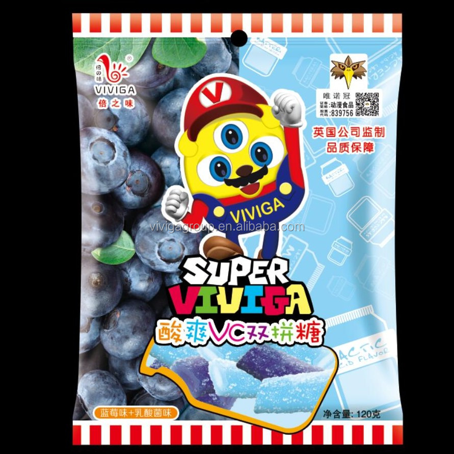Blueberry mix with Yogurt Flavour Sugar Coted Sour Filling Liquorice Candy
