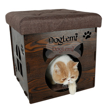 DogLemi New Design Functional Nature Wooden Pet house Chair soft cat bed