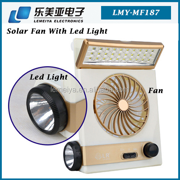 Mini USB charge and solar powered electric fan Portable Solar Light Fan Powered With LED Lights