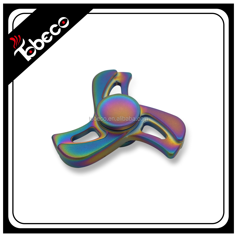 Rainbow hand spinner toy tri-spinner high speed hybrid ceramic bearing metal spinner toys for Adhd and Autism