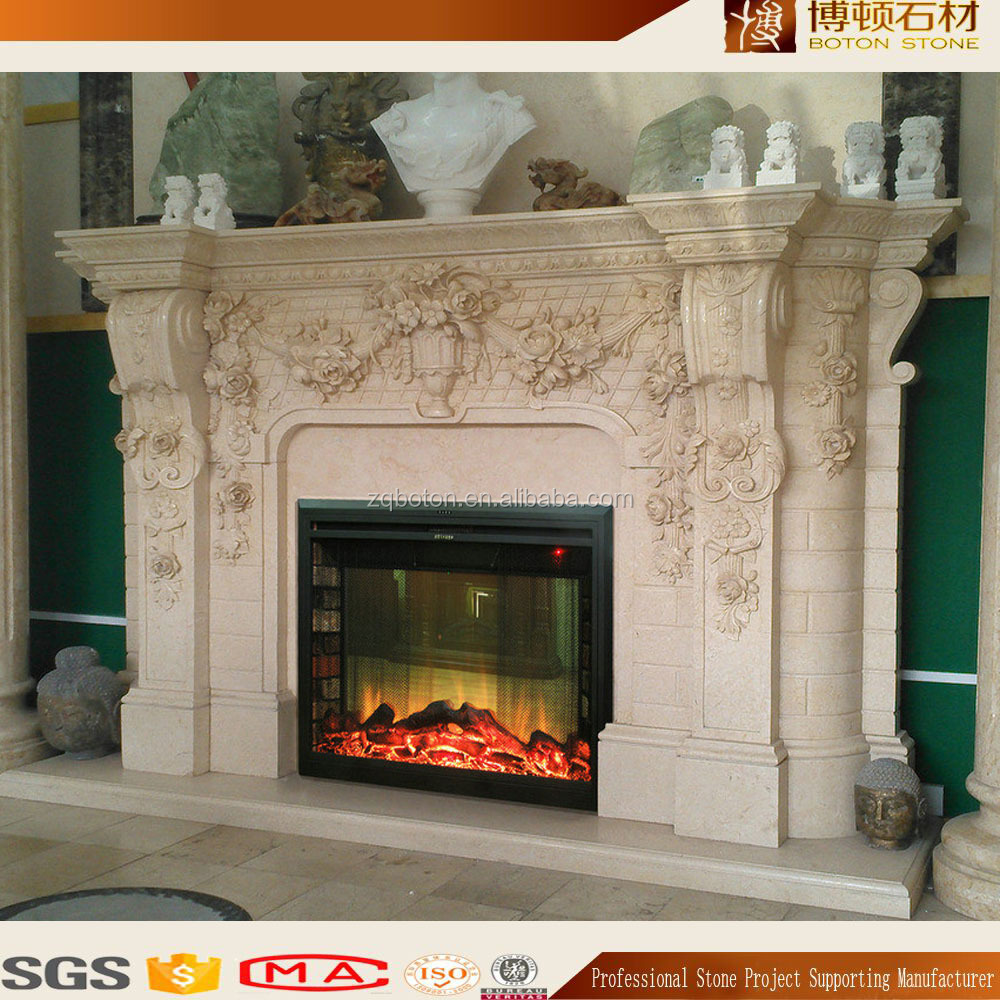 Hand Carved Stone Fireplace Mantel / Fireplace Surround