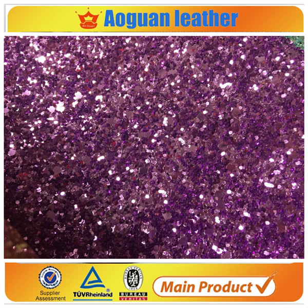 2016 hot sell big glitter multy color chunky glitter fabric sheet in synthetic leather from guangzhou glitter factory