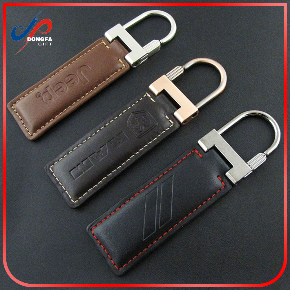 Jeep Grill Leather Key Chain Brown Rectangular Key Ring Fob Lanyard