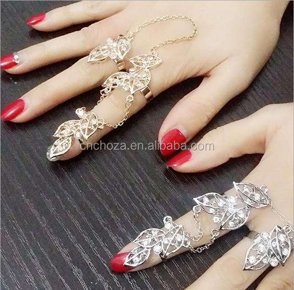 Z54370B Luxury Punk Hollow Out Knuckle Ring Two Finger Link Ring