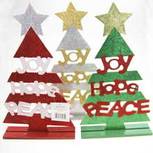 New Designed Glitter Table Decoration Laser Cut Christmas Tree Decoration