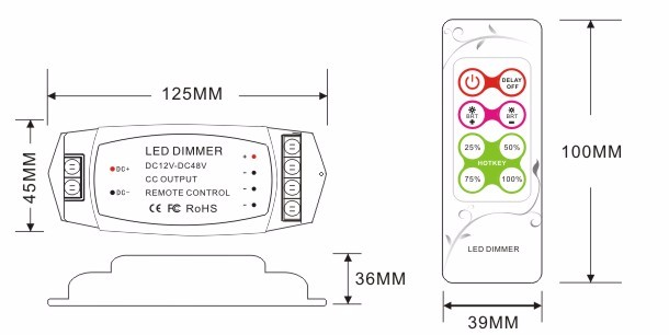 Wholesale BC-319 constant current DC12V 24V 48V wireless RF Remote control led dimmer