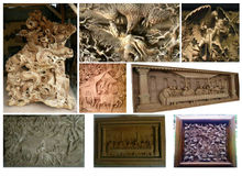 Hand carved wooden relief and story board