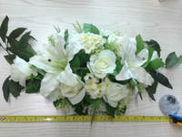 silk flower fabric rose/plant leaves arrangement artificial floral rose arrangements