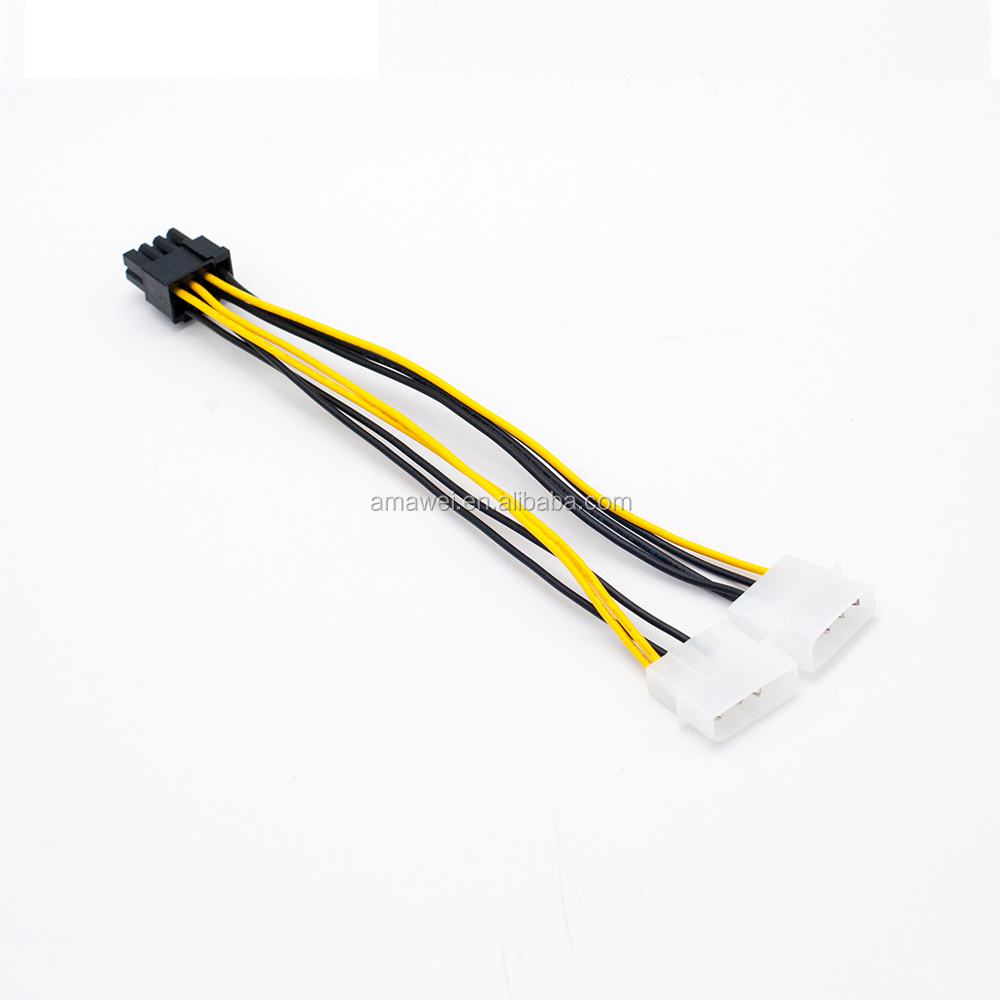 6 inch 2 x Molex 4 pin to 8-Pin PCI Express Video Card Pci-e ATX PSU Power Converter Cable - Molex to Pcie