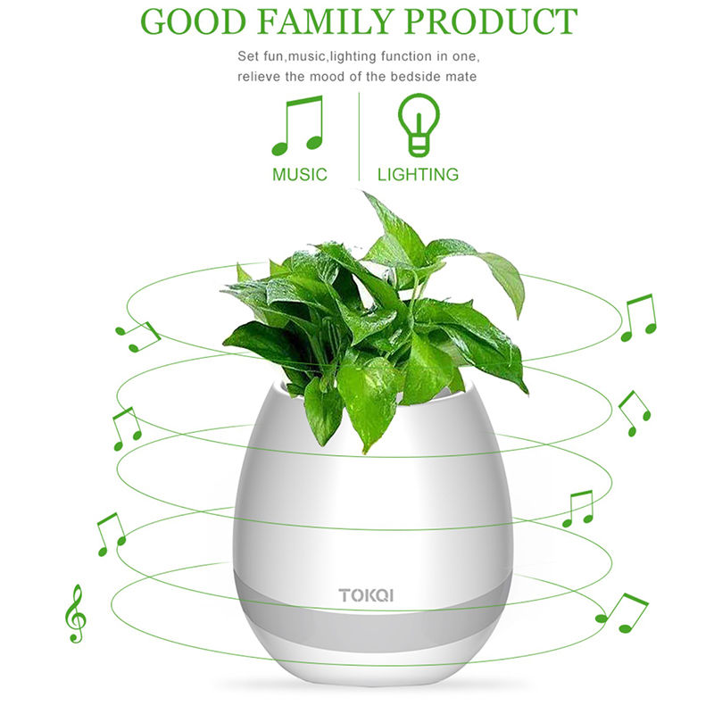 Mini smart bluetooth music flowerpot with LED lamp Home office Bluetooth Speaker Plastic Flower Pot Flower Pot Plants
