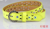 Freeshipping new arrival crystal-studded design hot sales women Korea style colored slim belt