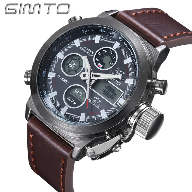 Hot sale men Watches Brand GIMTO Sport Diving LED display wristwatch Fashion Casual Leather strap Watch Montre Homme