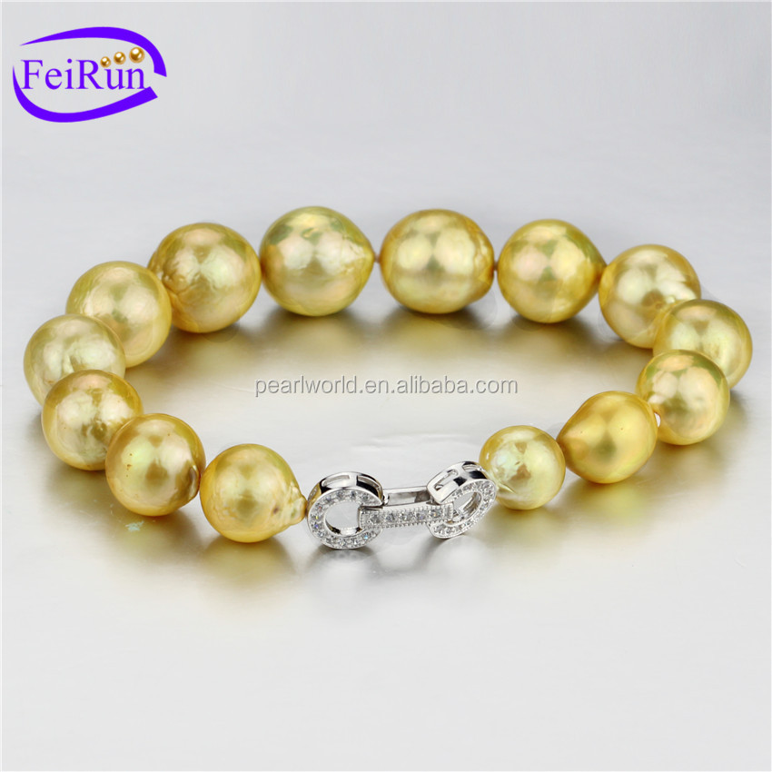 FEIRUN 10-13mm AA+ gold color fashion rare pearl bracelet, real pearl bracelet, girls pearl bracelet