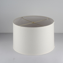 white cylindrical linen fabric lamp shade