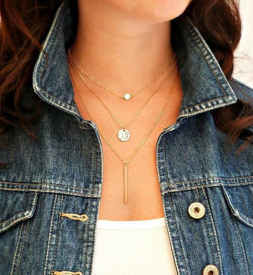 New Gold Fatima Hand Multilayer Hammer Chain Lariat Bar Necklace Long Strip Pendant Necklace Collar joyeria collier Women JHS018