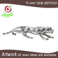 Large bulk size polyester resin silver panther statue for sale home office indoor ornament and gifts