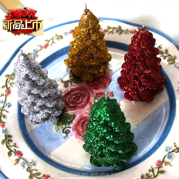 Hot sale christmas tree shaped decoration candle wholesale