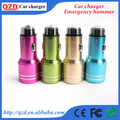Stainless steel emergency escape hammer dual port car usb charger