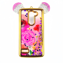 New Item Minnie Mouse Ears Glitter Waterfall Star Quicksand Liquid Silicone Bling Bling Phone Case for LG Ray Zone X180