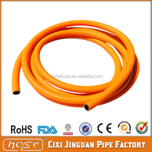 Orange Flexible Fibre braided High Pressure PVC Fuel Gas Hose Pipe used in Stove with yellow stripes and spot for Russian Market