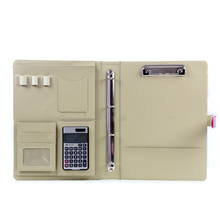 Multifunctional concise design immitation leather 4 ring binder calculator clip portfolio