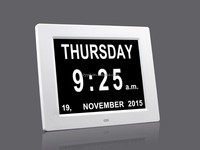 8 inch auto dimming lcd calendar clock for memory impaired with Non-Abbreviated Day & Month