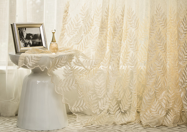 readymade latest dubai turkish voile curtain designs 3D lace leaf embroidery luxury window fabric curtain