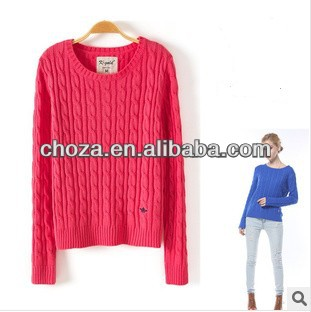 C60613A 2013 HIGH QUALITY O-NECK WOMEN'S PULLOVER KNITTED SWEATER