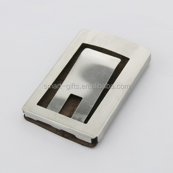 Leather With Metal Business Card Holder Id Card Holder