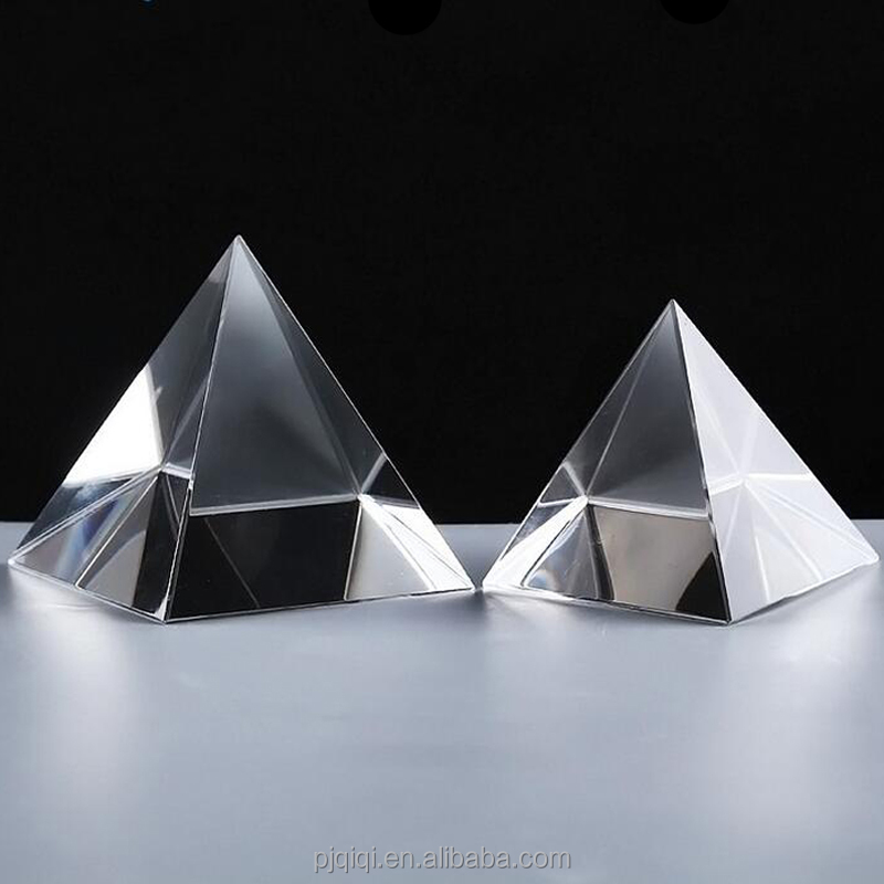 Promotional High Quality Blank Crystal Glass Pyramid Paperweight For Souvenir Gifts