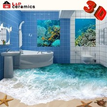2015 seaside scenery style micro crystal porcelain 3d floor pictures