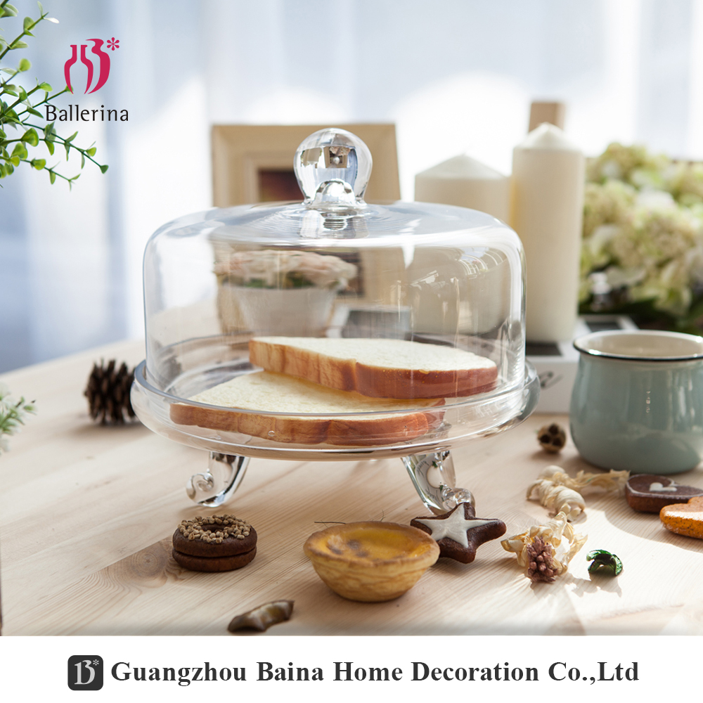Wholesale Glass Cake Stand Clear Glass Cupcake Stand With Dome