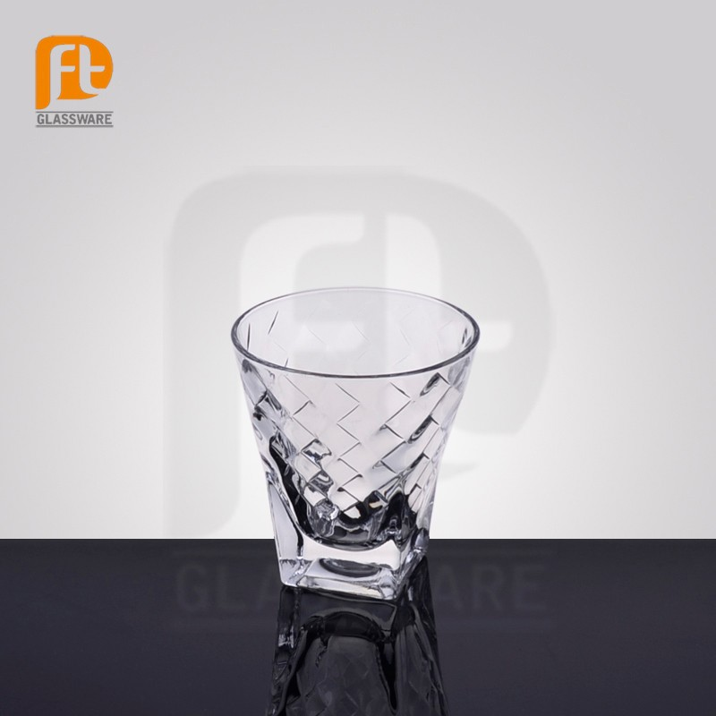 manufacture glassware cheap wholesale heavy bottom clear glass whisky glass
