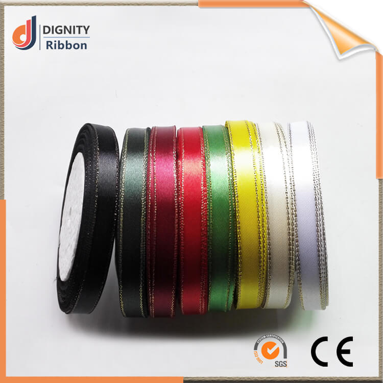 polyester single double face satin ribbon making label cut slit woven embossed end satin ribbon