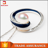 2015 China wholesale pearl jewelry 925 sterling silver pendant necklace
