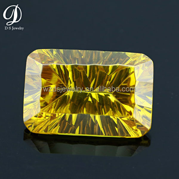 Concave cut cubic zirconia shining yellow cz gem stone
