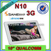 10 Inch built in 3G Sim Card Android Tablet PC Sanei N10 Quad Core Phone Call+ GPS +IPS Screen +Bluetooth