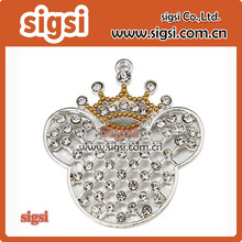Kawaii Rhinestone Pendant 55*50mm Crown Mouse Head Pendants Silver Plated Charms for Chunky Necklaces ZTQ165